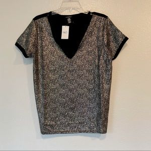 Rue 21 black and gold V-neck top